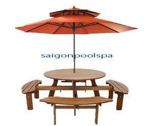 Bàn ghế hồ bơi bằng gỗ