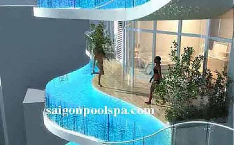 Hình dáng mặt cắt bể bơi trên mái tác động tới chi phí thi công