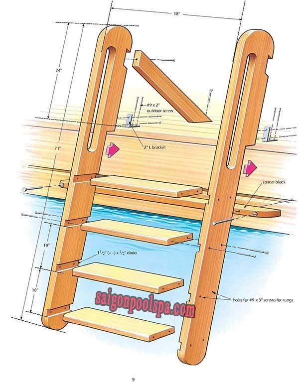 Cầu thang chất liệu bằng gỗ cho hồ bơi