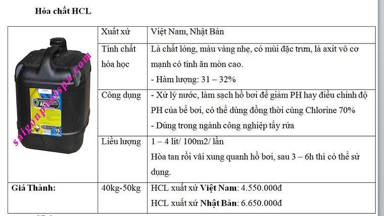 Báo giá hóa chất HCL bể bơi