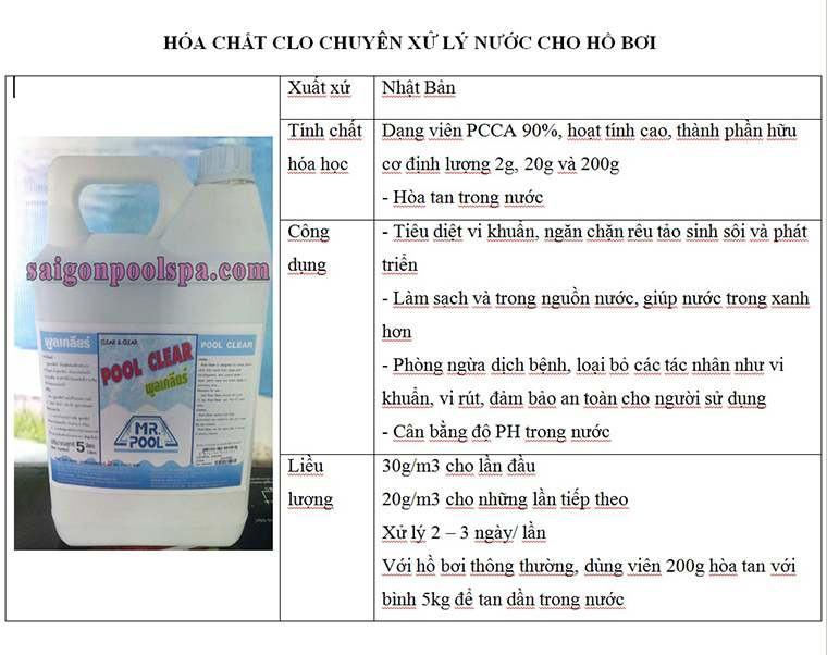 hóa chất clo xử lý nước hồ bơi