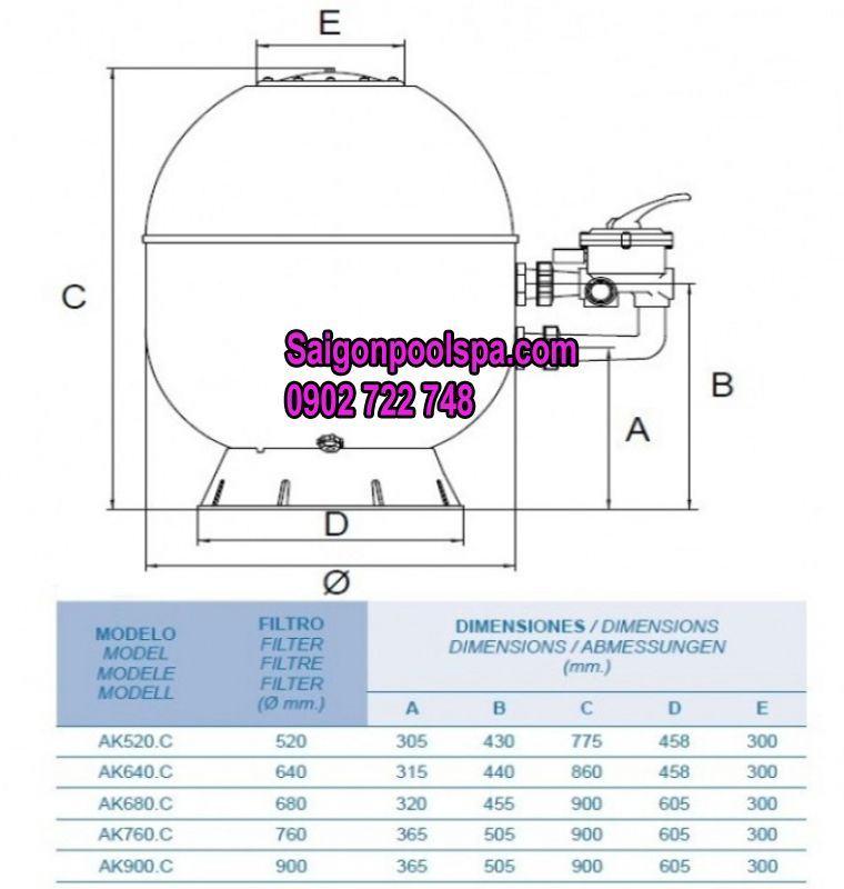 kích thước và khối lượng sử dụng cho cho bình lọc