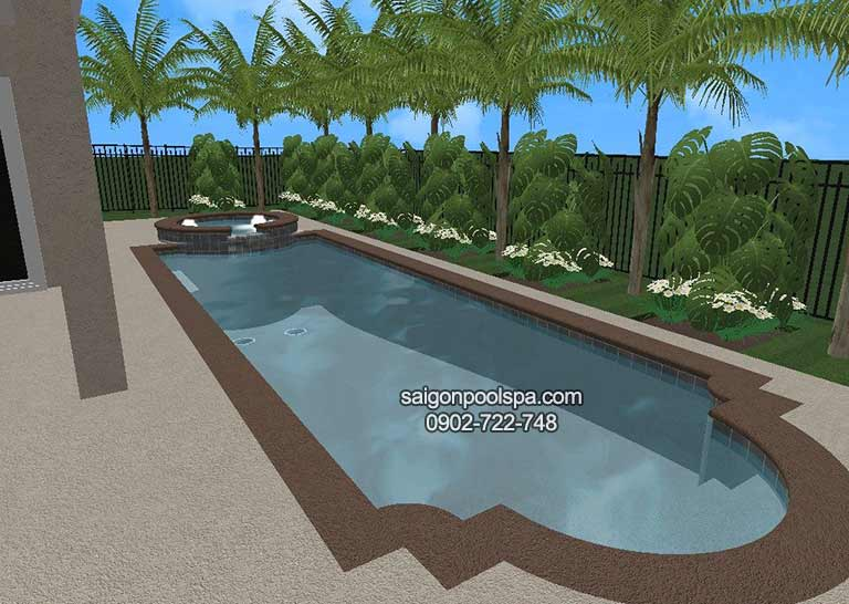 bản vẽ phối cảnh thiết kế 3D hồ bơi do các kiến trúc sư Saigonpoolspa thực hiện